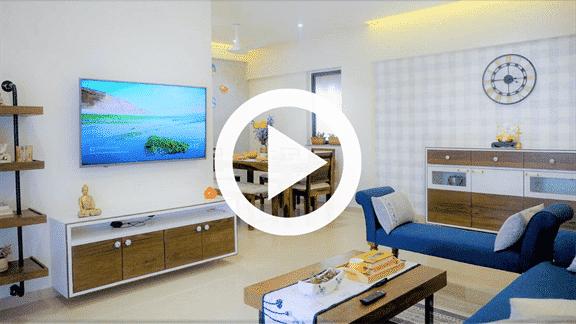 living room, tv unit interior design of 3bhk flat in kalpataur serenity mundhawa, pune